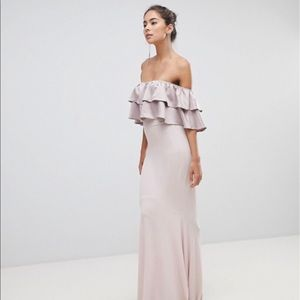 Dresses & Skirts - Silver Bloom Bandeau Frill Front Maxi Dress